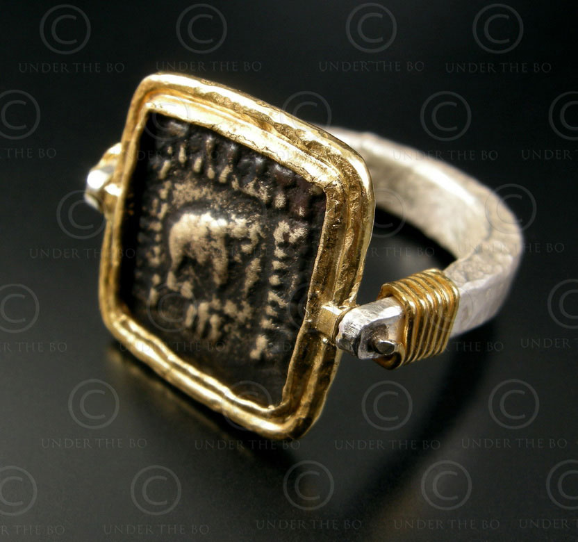 Bactrian coin ring R271. 24k gold and Sterling silver ring, Afghanistan.