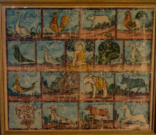 Burma painting BuP3. Astrological figuration. Acrylic on cotton, 1920-30s, Burma