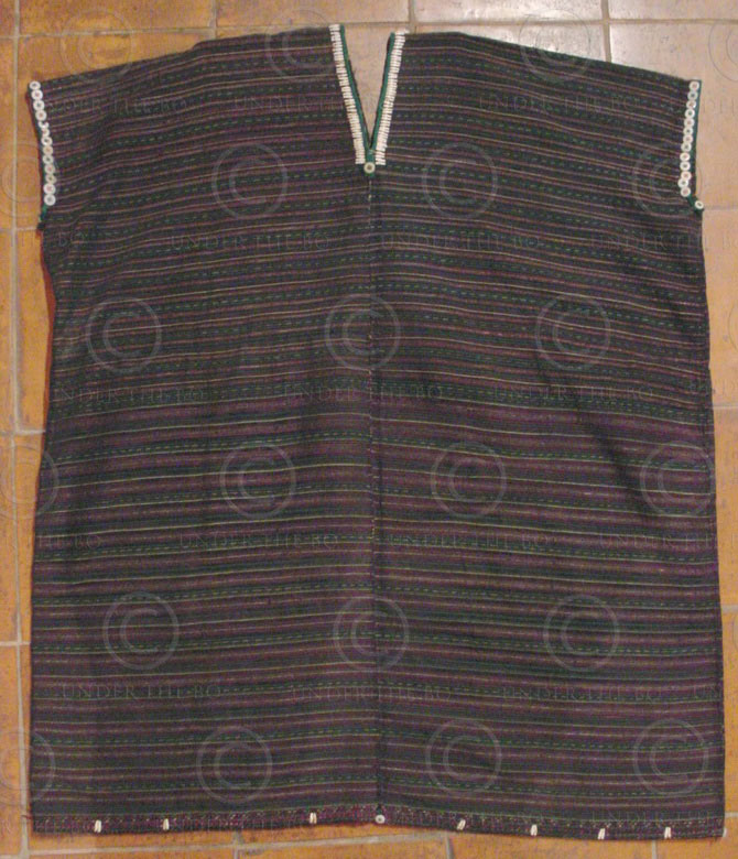 Taungyo Tunic BU8 Silk weaving tunic, Jobtear seeds, glass buttons, Taungyo mino
