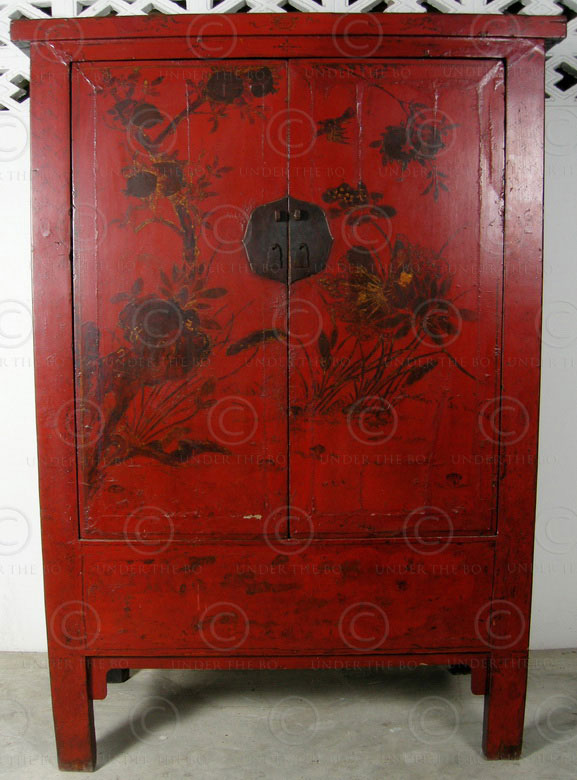 Chinese Cabinet Bj41 Cupboard Red Lacquered Elmwood
