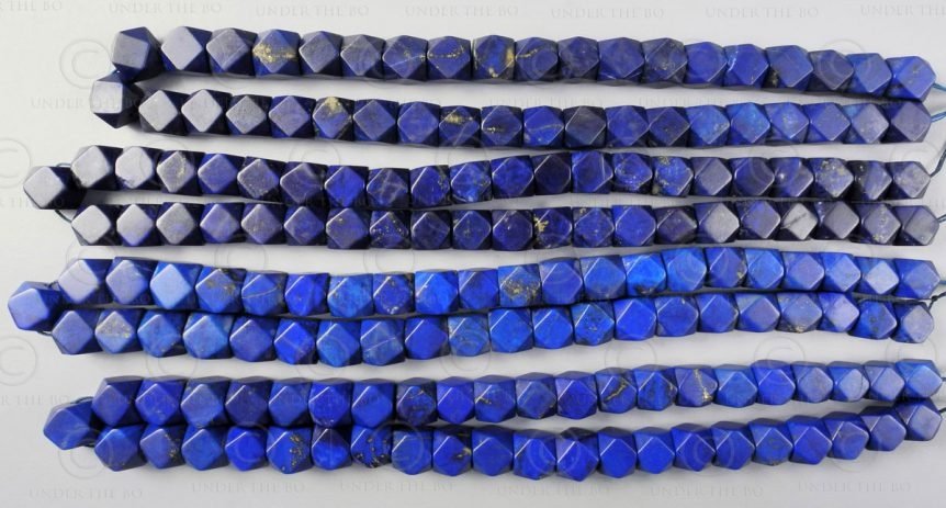 Lapis beads NBD4C. Afghan lapis lazuli, cut in India.