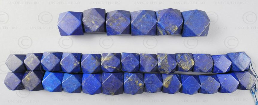 Lapis beads NBD4D. Afghan lapis lazuli, cut in India.