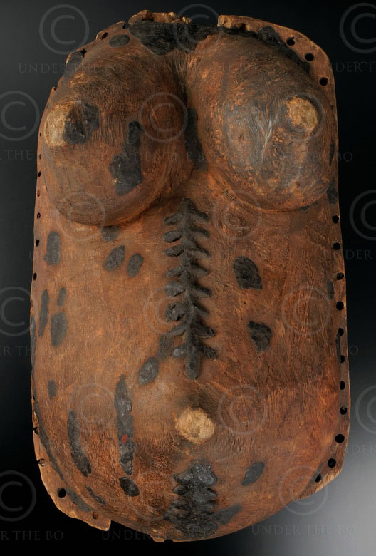 Makonde belly mask 12OL10A. Wooden body mask, worn by male dancers during ritual