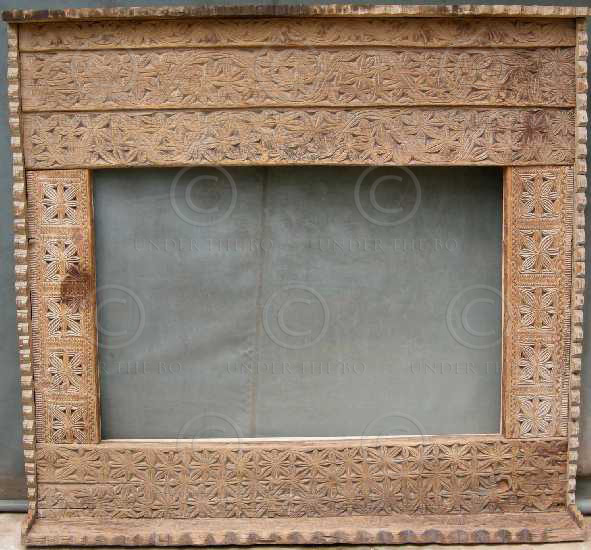 Mirror frame MF11. Cedar wood carvings. Pakistan.
