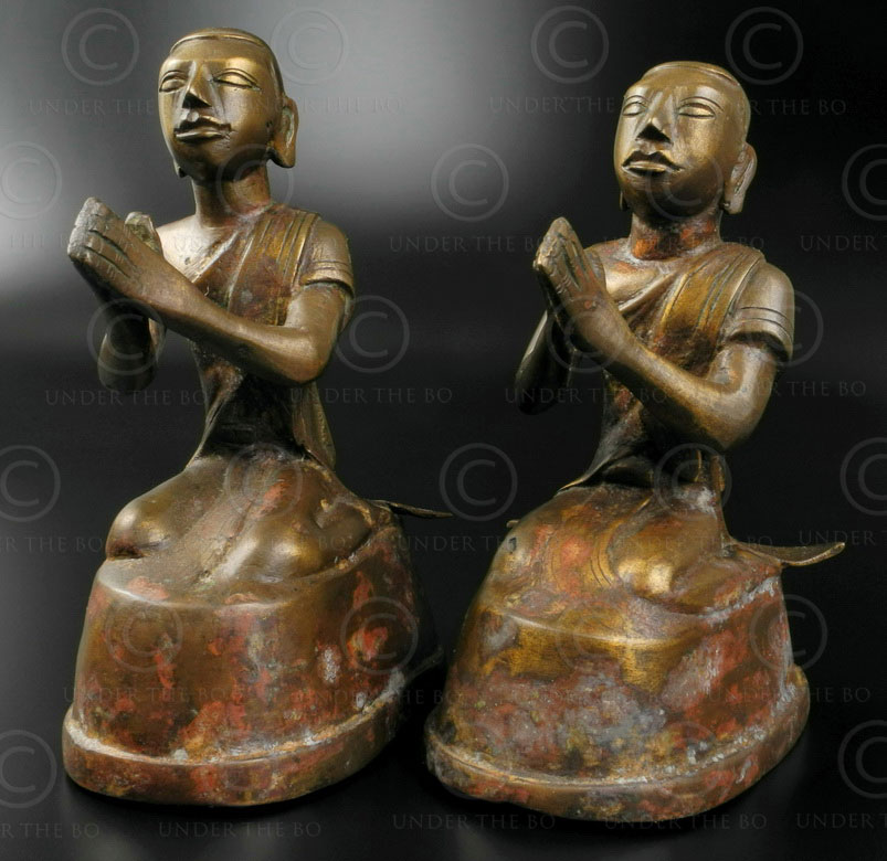 Pair Mandalay Buddha attendants BU493. Northern Burma.