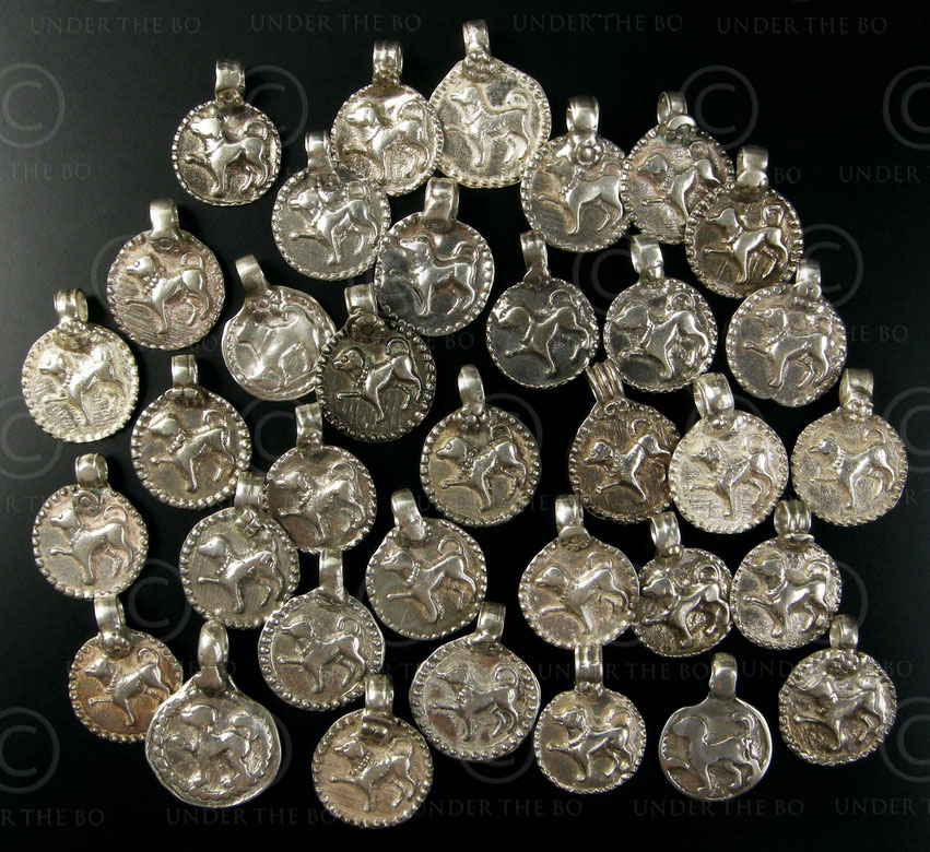 Silver dog pendants BD126. North India.