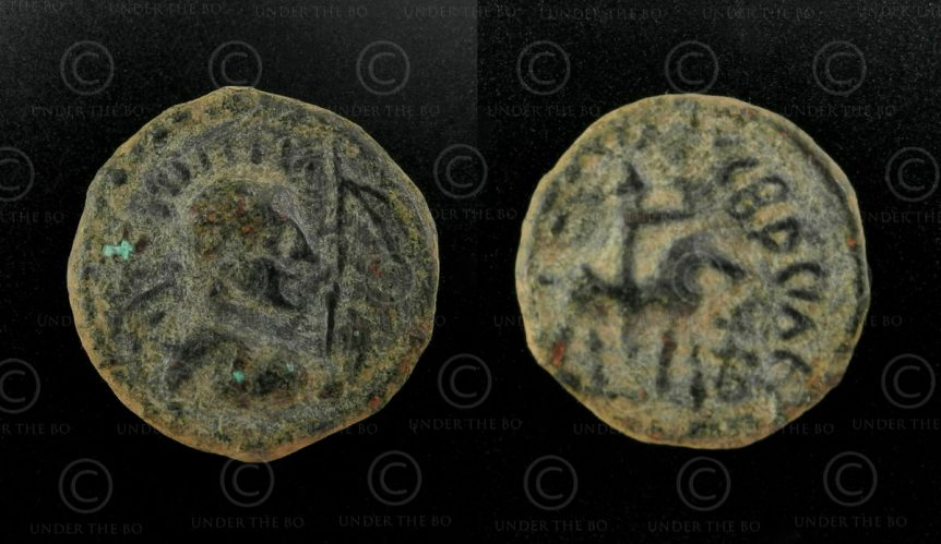 Kushan bronze coin C262G. Kushan Empire.