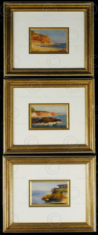 Toulon oil paintings F1. South of France. Oil on cardboard signed by Agusta. 192