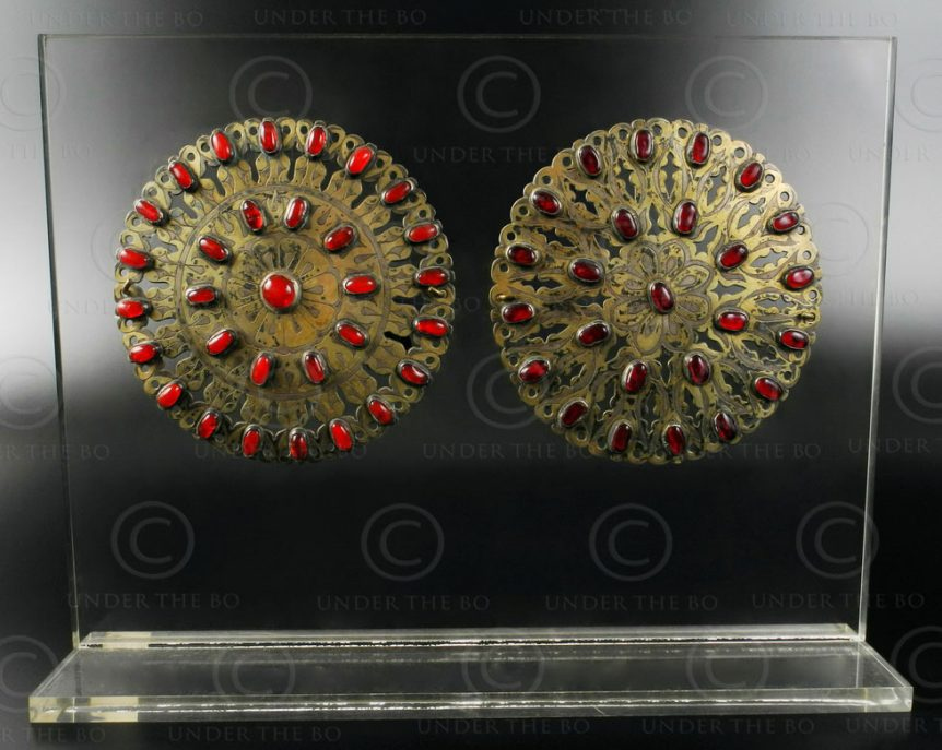 Turkmen brooches AFG35 silver, gild and glass cabochons. Afghanistan