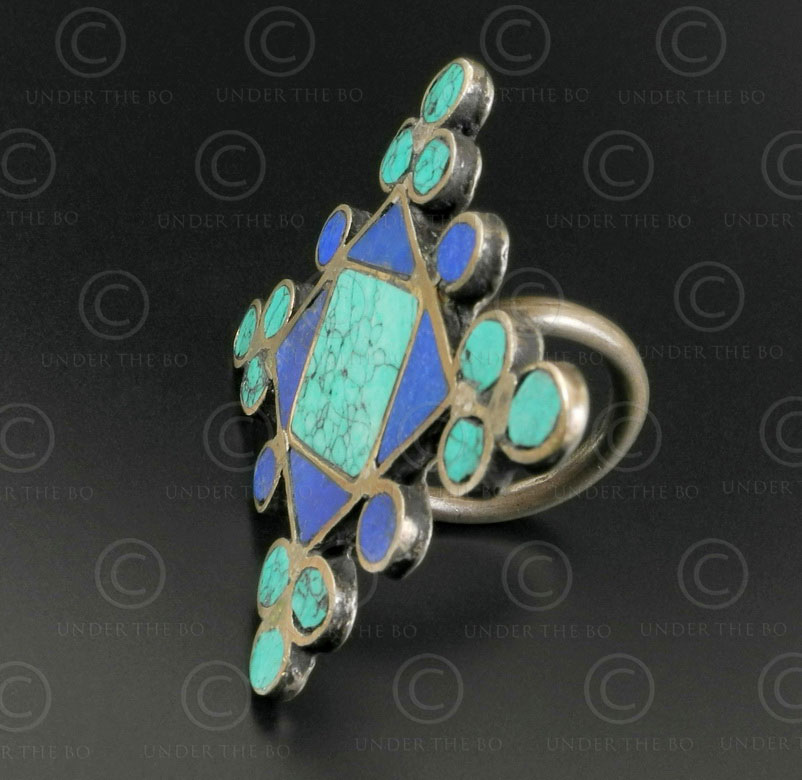 Turquoise lapis mosaic silver ring R244E. India.