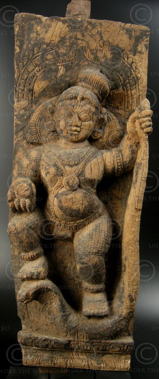 Wooden Krishna statue TC8. Element of a temple chariot, Tamil Nadu.