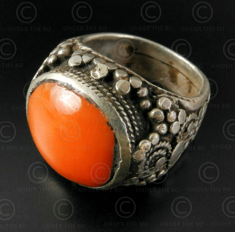 Coral and granulated silver ring R286. Turkmen culture, Central Asia.