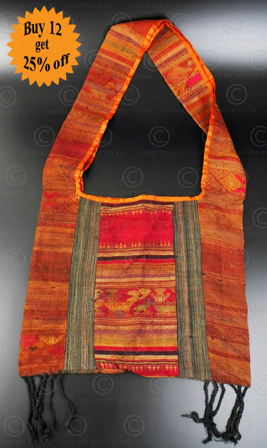 Silk weaving monk bag LA6J. Thailand.