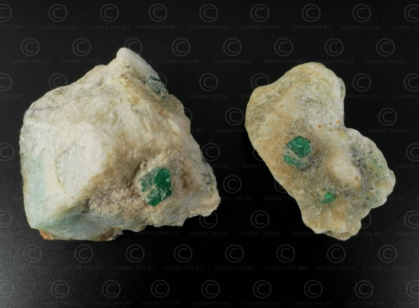 Two emerald rocks SW126A. Mines of Mingora, Swat valley, Pakistan.