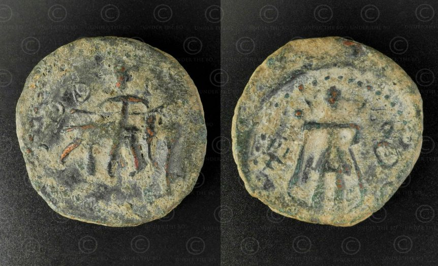 Kushan bronze coin C334. Kushan Empire.