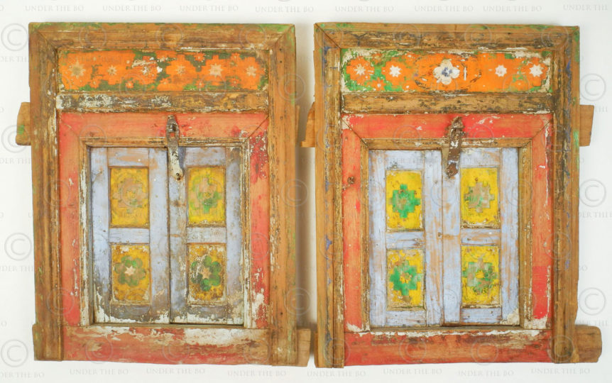Pair of small painted windows 17F51. Pakistan Punjab province.
