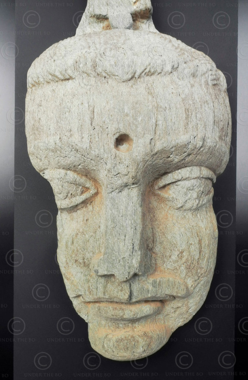 Gandhara Buddha face PK240. Ancient Buddhist kingdom of Gandhara. Found in the valley of Swat, Northern Pakistan.