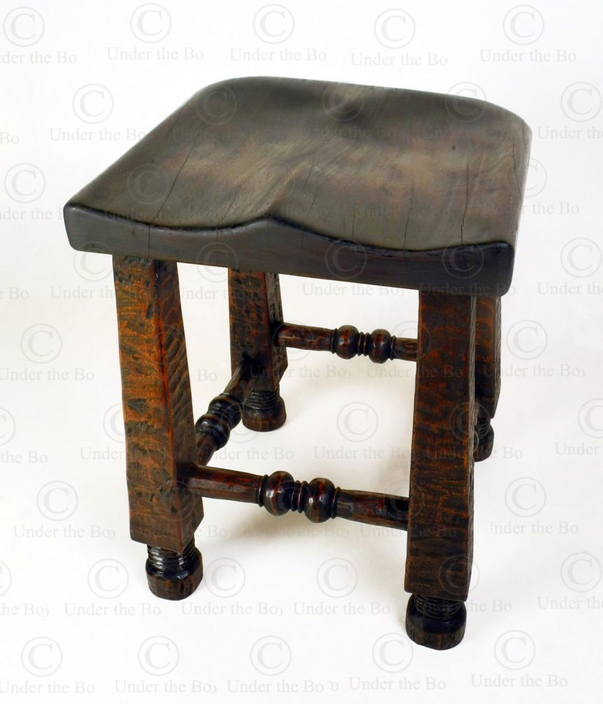 Angola style stool 18FV-S10. Made at Under the Bo workshop.